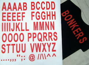 iron on  50mm - A-Z LETTERING  red for custom design t-shirt printing