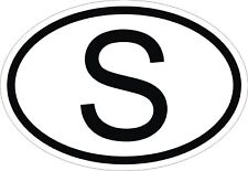 S SWEDEN COUNTRY CODE OVAL STICKER bumper decal car