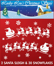 2 SANTA SLEIGH & SNOWFLAKE CHRISTMAS WINDOW STICKERS CLINGS - REUSEABLE
