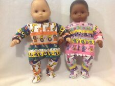 "Bitty Baby 15"" doll clothes outfits twins girl boy animal sleeper pajamas pj fit"