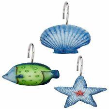 """Carnation Home """"Oceanic"""" Resin Shower Curtain Hooks in Blue"""