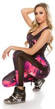 Fitness leggings & Top yoga mesh pink black graffiti stretch size S/M M/L set