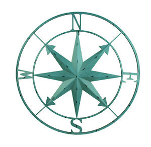 Scratch & Dent Distressed Metal Indoor/Outdoor Compass Rose Wall Hanging 28 Inch