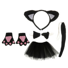 Kids Black Cat Dressing up Cosplay Outfit Headband Skirt Bowtie Gloves Tail