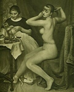 90+ year Old Original LAURA KNIGHT Art Print DRESSING FOR THE BALLET Nude Woman