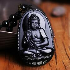 Natural Obsidian Hand Carved Amitabha Buddha Lucky Amulet Pendant Beads Necklace