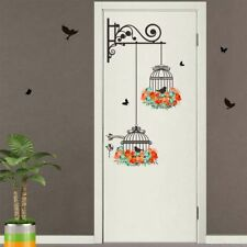 Cute Removable Flower Birdcage Wall Sticker Birds Plants Home Decals Room Decor