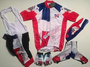 New size 3XL - DOMINICAN REPUBLIC Team Cycling Flag Bike Set Jersey Bib Shorts +