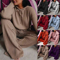 Women Solid Color Leisure Time Hood Sweater Athletic Wear Long Sleeves Suit Chic