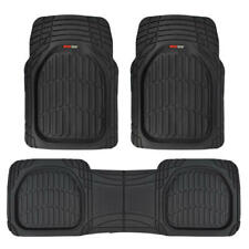 FlexTough Shell Rubber Floor Mats Black Heavy Duty Deep Channels for Car 3pc Set (Fits: Chevrolet)