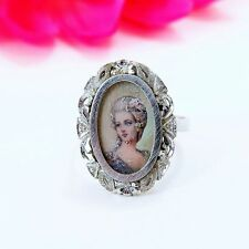 Antique 18 k white gold ring with painted portrait of a young lady unique