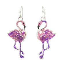 Pink Flamingo Bird Earrings Enameled Silver Plated Gift Boxed Fast Shipping