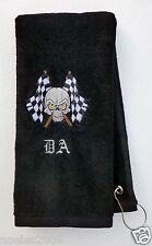 Personalized Embroidered Checkered Skull Bowling Hand Golf Towel Monogrammed