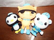 "Bundle 3 Octonauts soft plush figure toy 9"" Kwazii 6.5"" Peso & Barnacles cbeebie"