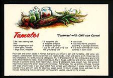 Recipe postcard US Tamales Cornmeal with Chili con Carne