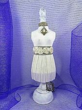 "Decorative Tabletop Dress Form Papier Mache & Wood Shabby Victorian Style 17.75"""