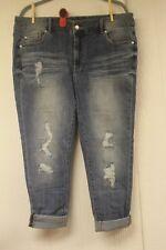 Roaman's Denim 24/7 Deconstructed / Cropped Cuffed Light denim Jeans Plus  18W