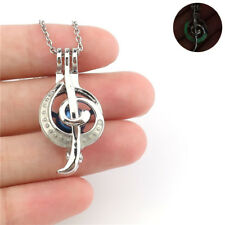 """K1026 Luminous Music Note in the dark Pearl Cage Locket Necklace 18"""""""