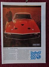 1969 Print Ad Ford Mustang Cobra Shelby GT 350/500 Sportscar ~ Looks Invincible