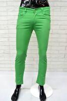 Pantalone Uomo ALTA LINEA Taglia Size 43 Jeans Pants Man Slim Elastico Verde