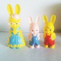 Vintage 3 KNICKERBOCKER Hard Plastic  Easter Bunny Rabbit Rattlers