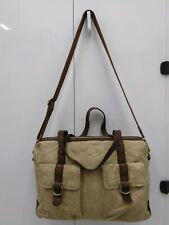 Lucky Brand Large Business Crossbody/ Briefcase Bag Beige Canvas - Leather Trim