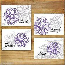 Purple+Gray Wall Art Prints Pictures Floral Flower Decor Live Love Laugh Quotes