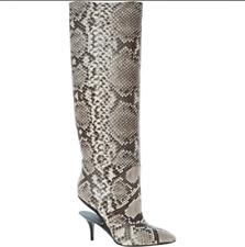 MAISON MARTIN MARGIELA Grey Snake Effect Leather Boots with Suspended Heels UK 4