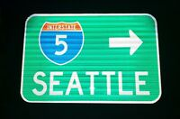 Interstate 5 Seattle route road sign-WSDOT- Washington, Mariners,U of Washington