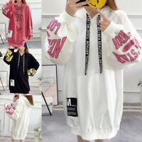 Women Loose Letter Print Long Sleeve Hoodie Sweatshirt Pullover Tops Long Blouse