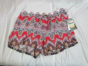 NWT Bebop Be You Be Free Multi Print & Color Soft Shorts L Elastic Waist Org $24