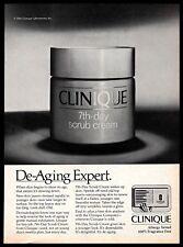 1982 Clinique 7th Day Scrub Cream Skin Care Cosmetics B&W Vintage 1980s PRINT AD