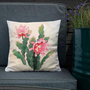 Orchid Cactus Premium Pillow - Watercolor Art Reversible Design Palm Springs