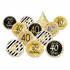 40th Birthday Party Favors Black Gold Decoration Stickers Supplies Set of 324