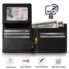 Trifold Wallet RFID BLACK GENUINE LEATHER LUXURY BIFOLD SLIM MENS ID NEW