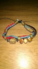 Native Handicraft Leather, Rope and Chain Beaded Bracelet