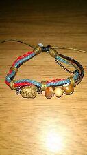Nativo artesanía de cuero, cuerda y con cuentas pulsera de cadena