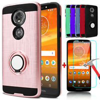 For Motorola Moto E5 Plus/E5 Supra Ring Stand Phone Case+Glass Screen Protector