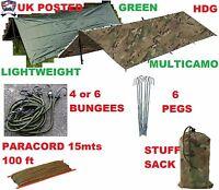 ARMY BASHA SET TENT SHELTER TARP BUSHCRAFT SURVIVAL CAMO/MTP/HMTC/MULTICAMO/OG