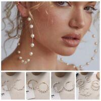Women Lady Imitation Pearl Geometric Big Circle Boho Drop Hoop Dangle Earrings