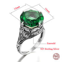 925 Sterling Silver Rings Emerald Crystal Antique Ring Jewelry Women Men Green