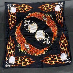 Flaming Eagle & Skull Bandana Black With Orange Flaming Eagle 6 Skulls