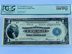 1918 $1 FRBN Chicago - PCGS 58PPQ Choice AU - Fr. 729