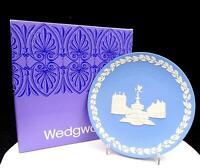 "WEDGWOOD JASPERWARE BLUE CHRISTMAS 8"" PICCADILLY CIRCUS PLATE ORIGINAL BOX 1971"