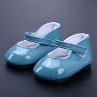 Handmade Blue Leather Boots Shoes For 18inch Doll Toy Kids Party C7P8