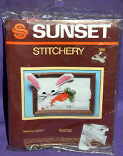 New Sunset Designs Stitchery Bashful Bunny Crewel Embroidery Kit Rabbit Carrot