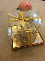 NEW Gold XMAS TABLE CENTREPIECE>CANDLE HOLDER WITH GARLAND Christmas