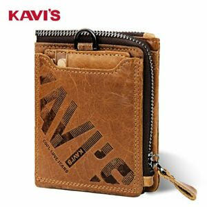 KAVI'S Men's RFID Wallet Card Holder Coin Purse Small Genuine Cow Leather Pocket