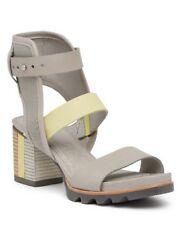 Sorel Addington Cuff Sandal Womens  Leather Canvas Dove/Zest S US 9.5 EU 40.5