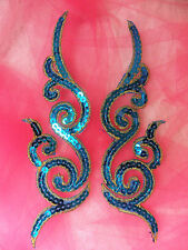 GB350 Sequin Appliques Turquoise Gold Metallic Scroll Mirror Pair Iron On Patch